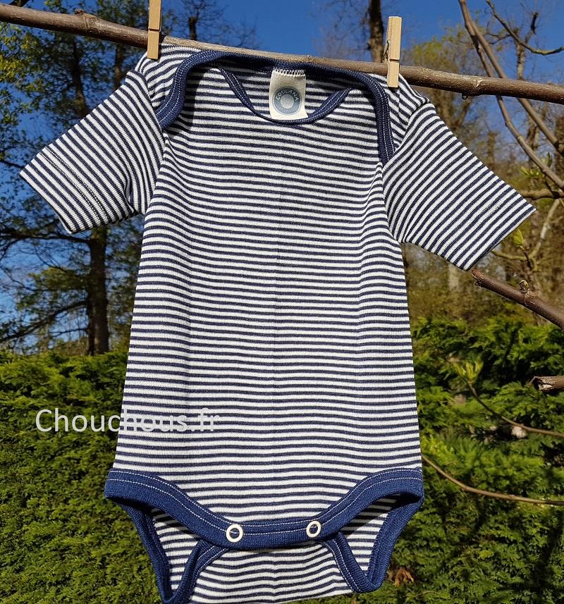Cosilana body manches courtes Bleu rayé - Laine/soie