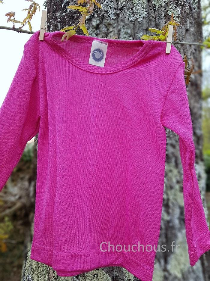 Cosilana T-shirt Enfant manches longues Rose - Laine/soie