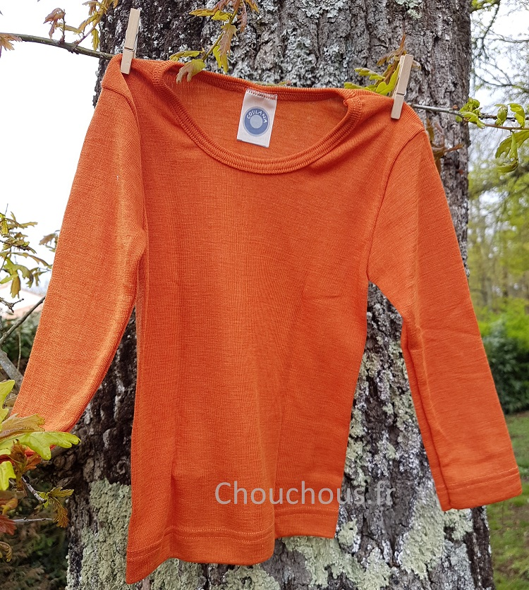 Cosilana T-shirt Enfant manches longues Orange - Laine/soie