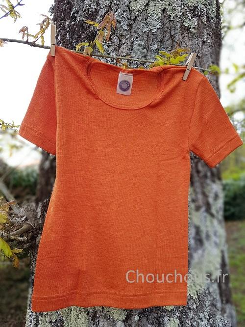 Cosilana T-shirt Enfant manches courtes Orange - Laine/soie