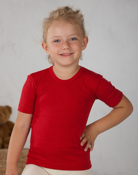 Cosilana T-shirt enfant manches courtes Rouge - Laine/soie