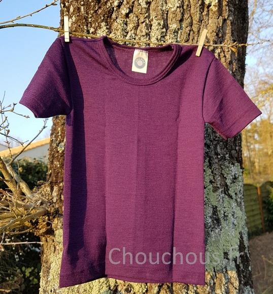 Cosilana T-shirt Enfant manches courtes violet - laine/soie