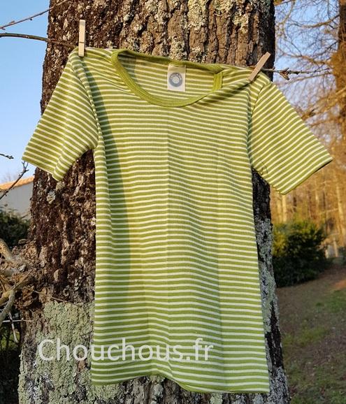 Cosilana T-shirt Enfant manches courtes vert rayé - laine/soie