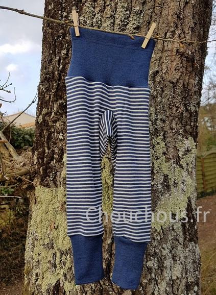 Cosilana Pantalon Bleu rayé - laine/soie