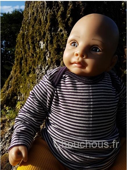 Cosilana T-shirt manches longues Violet rayé - laine/soie