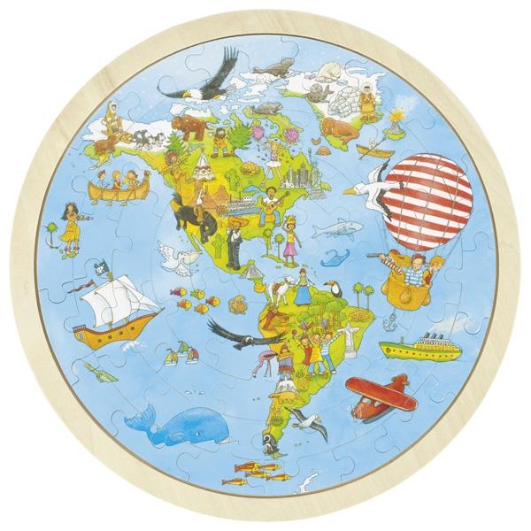 Puzzle Tour du monde Peggy Diggledey - 2 faces 57 pcs GOKI