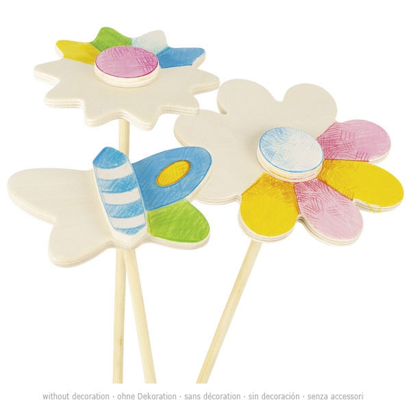 Décorations fleurs et papillons en bois à colorier GOKI