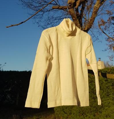 Cosilana T-shirt col roulé manches longues écru - laine/soie