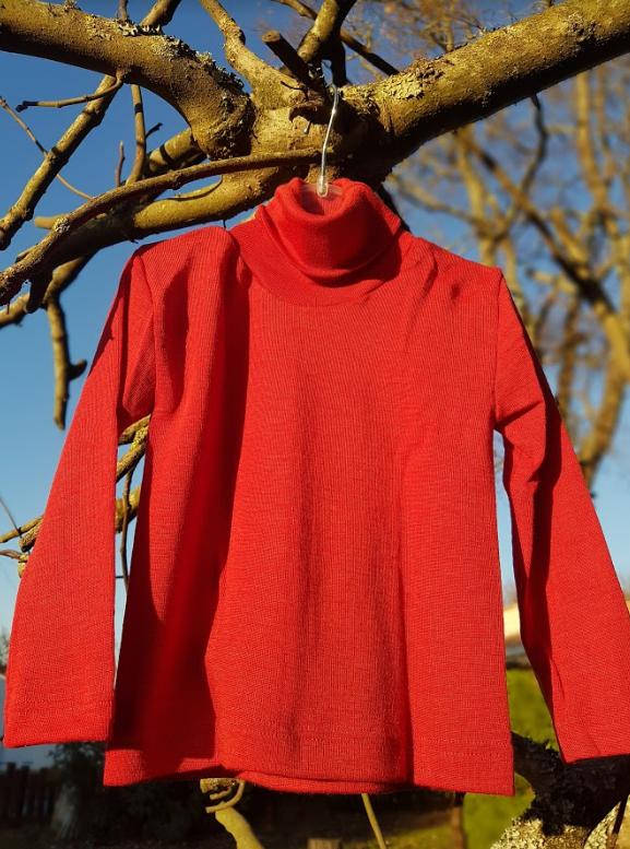 Cosilana T-shirt col roulé manches longues rouge - laine/soie