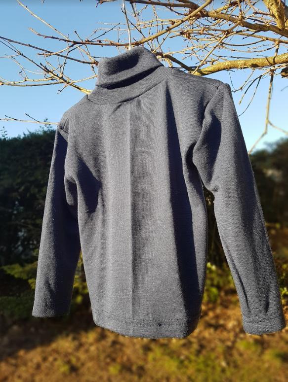 Cosilana T-shirt col roulé manches longues bleu - laine/soie