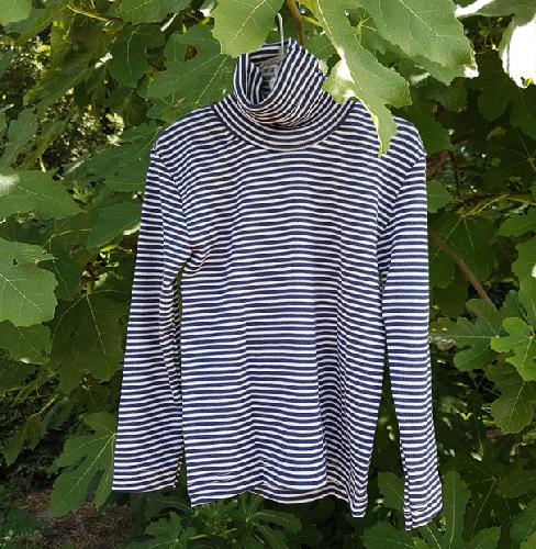 Cosilana T-shirt col roulé manches longues bleu rayé - laine/soie