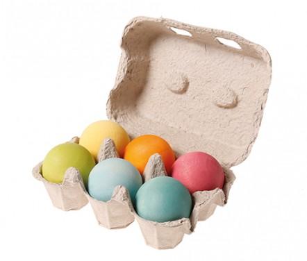 6 boules en bois Pastel GRIMM\'s