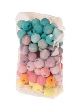 120 perles en bois 12mm Pastel GRIMM\'s