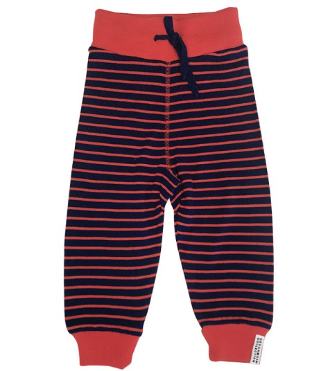 Pantalon en laine Marine/Rouge rayé Geggamoja
