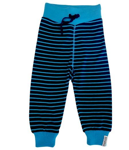 Pantalon en laine Marine/Turquoise rayé Geggamoja