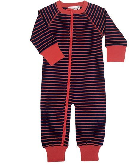 Combinaison en laine Marine/Rouge Geggamoja