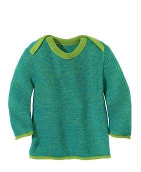 Pullover en laine tricotée Vert/Bleu Disana