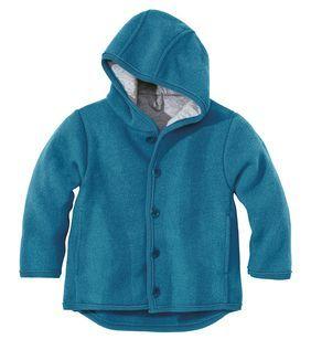 Veste avec capuche en laine Bleu Disana