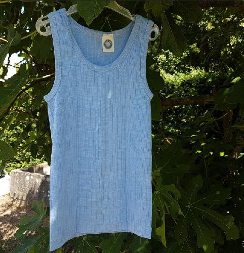 Cosilana débardeur enfant Bleu ciel - Laine/Soie/Coton bio