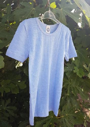 Cosilana T-shirt manches courtes Enfant Bleu ciel - Laine/Soie/Coton bio