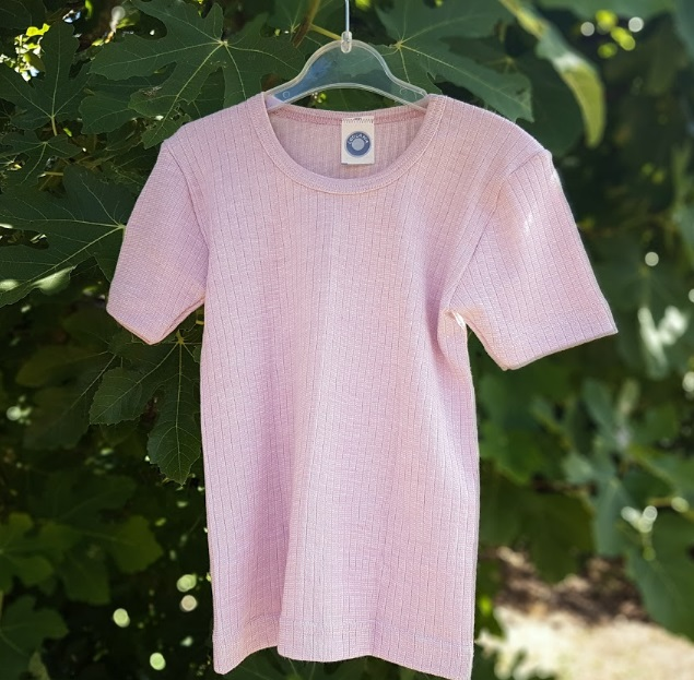 Cosilana T-shirt manches courtes Enfant Rose clair - Laine/soie/coton bio