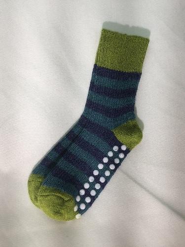 Hirsch Chaussettes en laine antidérapantes Enfant Vert-Bleu