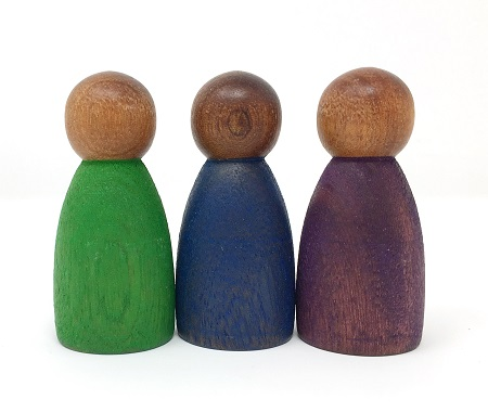 3 Nins bois foncé couleurs froides - Grapat