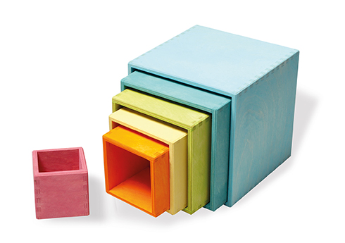 Grands cubes à empiler en bois Pastel - 6 Pièces Grimm\'s