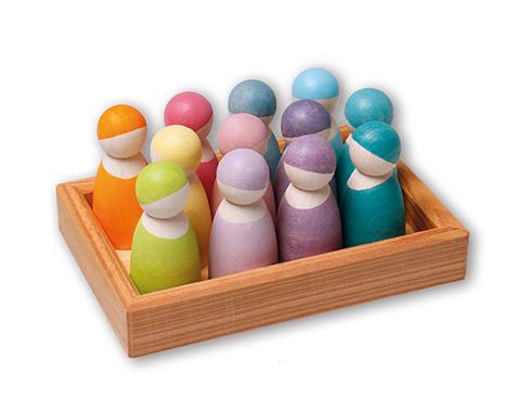 12 amis en bois couleurs Pastel GRIMMS