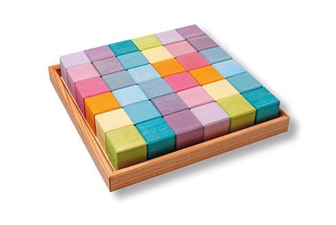 36 cubes de construction en bois - couleurs Pastel Grimm\'s