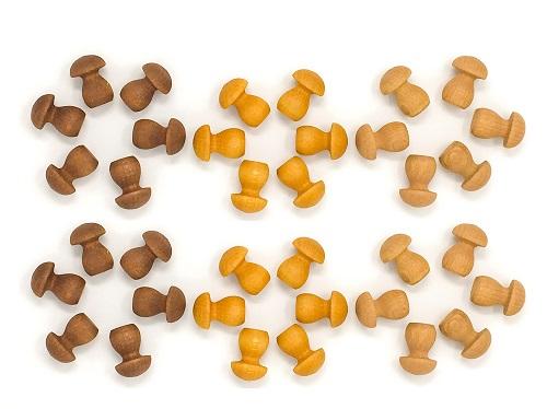 Mandala Mini champignons en bois - Lot de 36 Grapat