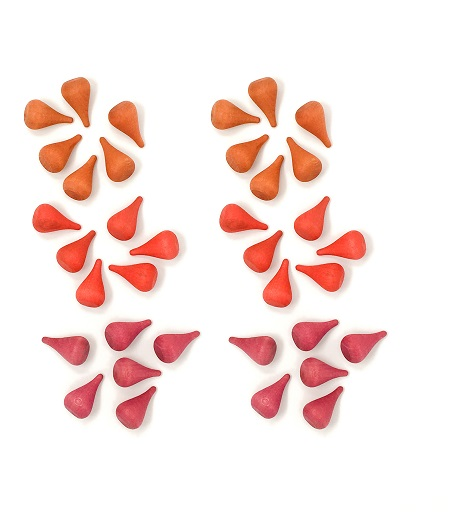 Mandala Petites flammes rouge en bois - Lot de 36 Grapat