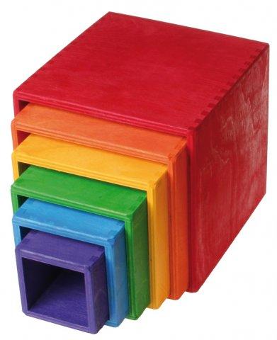 Grands cubes à empiler Arc-en-ciel GRIMMS