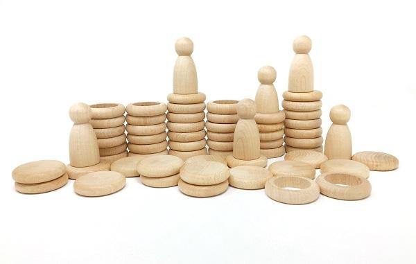 Ensemble de Nins, anneaux et pièces en bois naturel Grapat