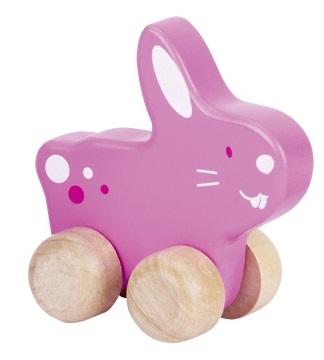 Petit lapin rose à tirer GOKI