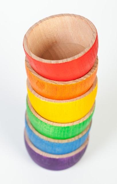 6 bols en bois Arc-en-ciel GRAPAT