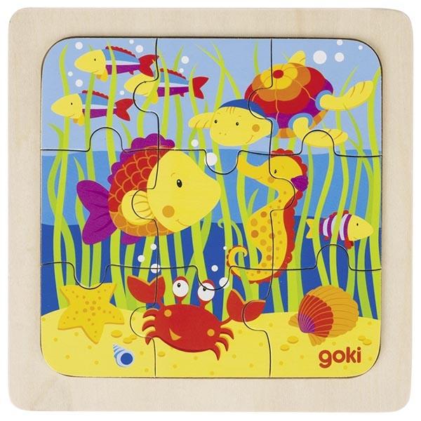 Puzzle en bois monde sous-marin GOKI