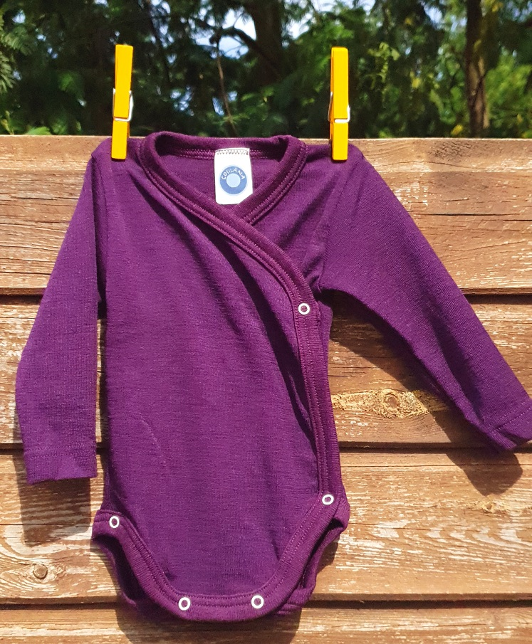 Cosilana Body kimono manches longues violet - Laine/soie