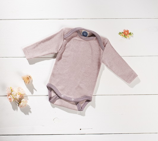 Cosilana Body manches longues rose/lilas - laine/soie