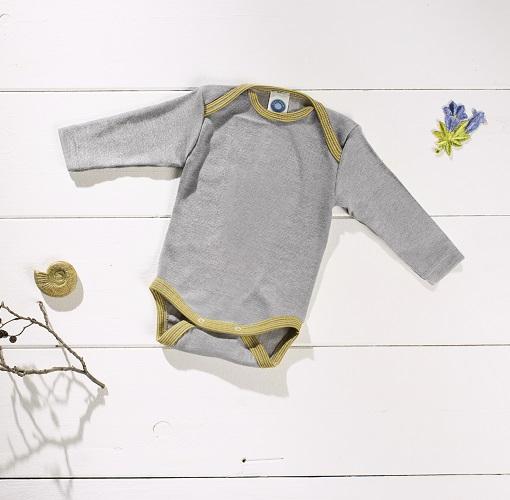 Cosilana Body manches longues gris/vert - laine/soie