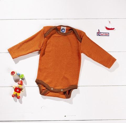 Cosilana Body manches longues orange/rouille - laine/soie