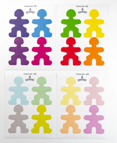 Flockmen - Lot de 16 autocollants de couleur
