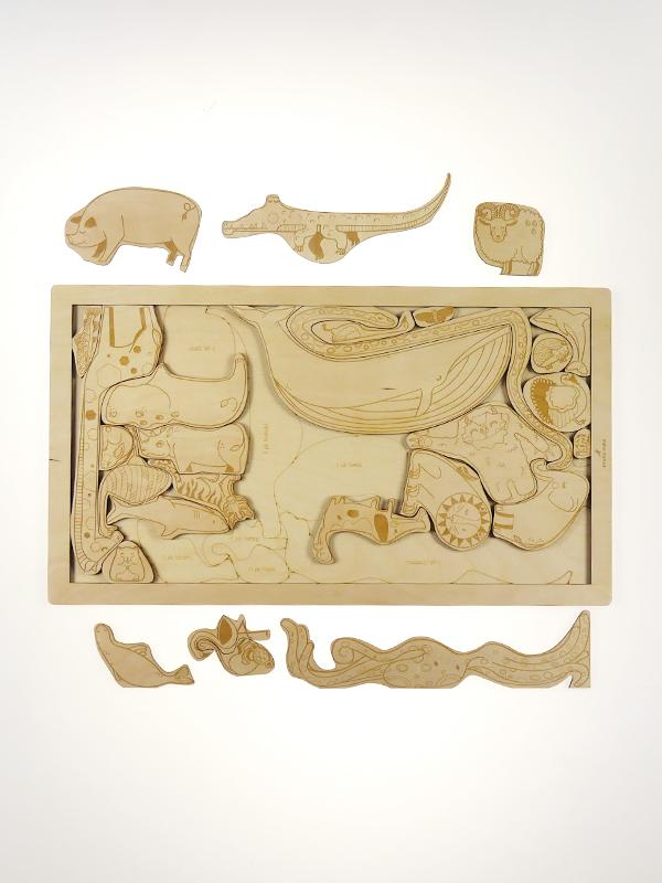Puzzle en bois les animaux Stuka Puka