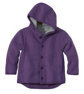 Veste avec capuche en laine Violet Disana