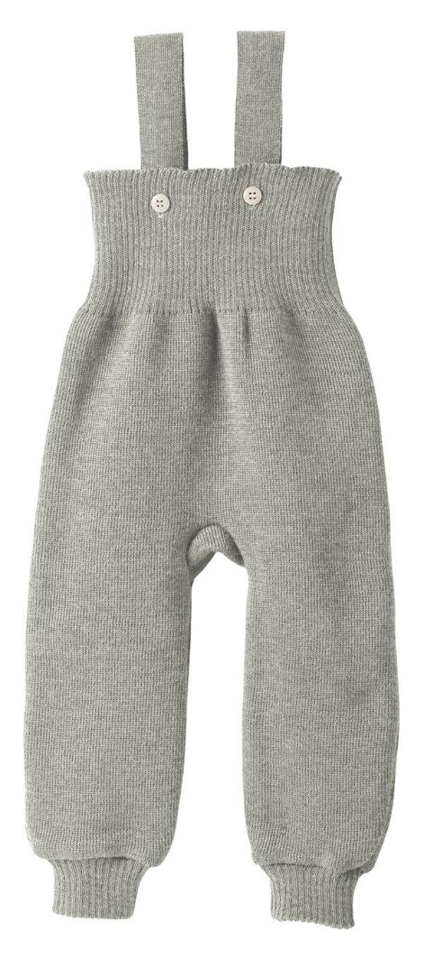 Pantalon en laine tricoté avec bretelles Gris Disana