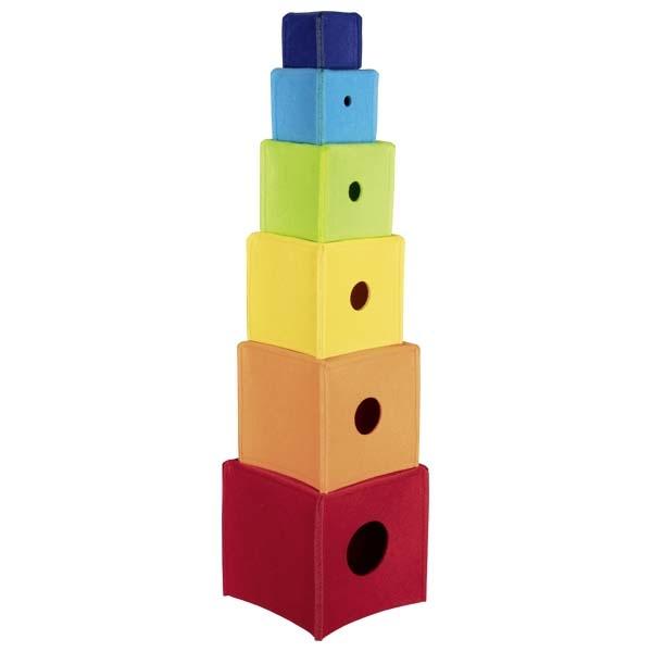 Cubes à empiler arc-en-ciel Goki