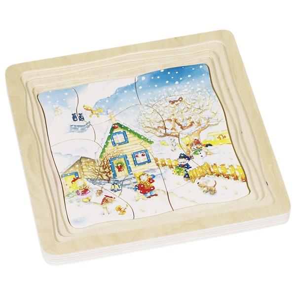 Puzzle en bois Les 4 saisons - 4 couches GOKI