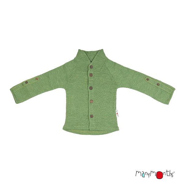 Gilet col boutonné en laine ManyMonths - coloris 2021 Jade Green