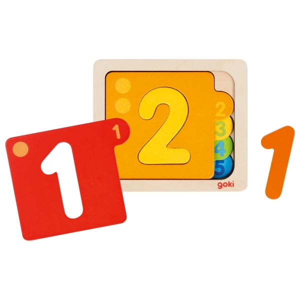 Puzzles en bois Chiffres 1 à 5 GOKI 57410