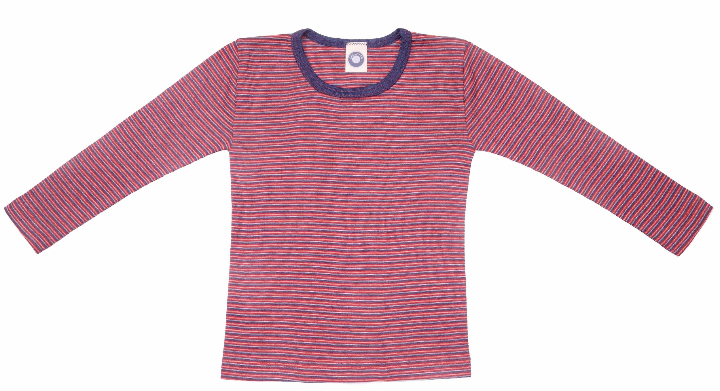 Cosilana T-shirt manches longues enfants Laine/soie rouge/marine/naturel rayé-71233-248